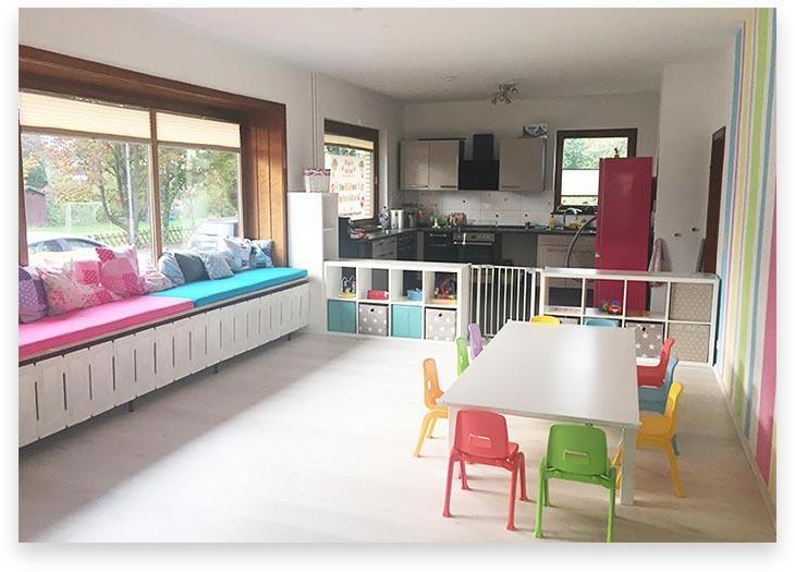 5Stars Kindertagespflege Tagesmutter Lübeck Innenaufnahme Wohnzimmer und Küche